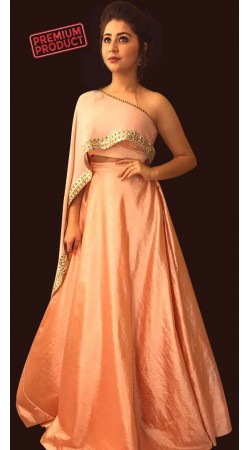 Aditi Bhatia Salmon Plain Skirt With Designer Crop Top BP1746