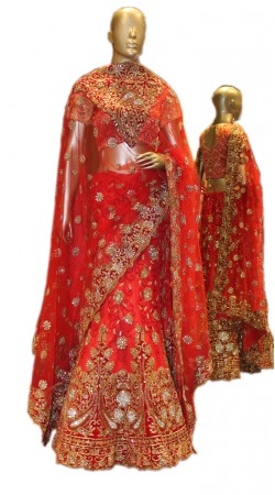 Adorable Heavy Work Red Net Bridal Lehenga Choli With Dupatta SD0858