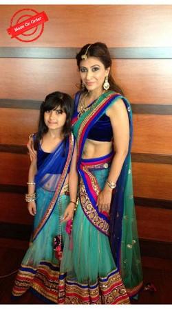 Adorable Mother Daughter Aqua Net Lehenga Choli For You BP3416