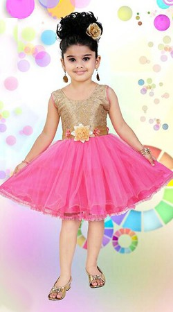 Adorable Pink Net Kids Girl Designer Short Frock With Floral Sash DT12048
