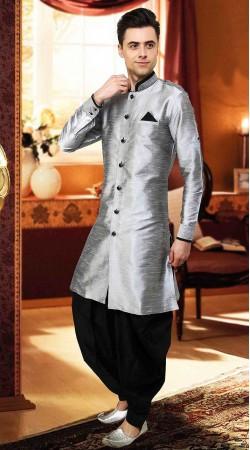 Adorable Silver Art Dupian Chinese Collar Sherwani DTINDO15950