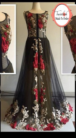 Aesthetic Black Net Floral Resham Work Floor Length Gown BP0715