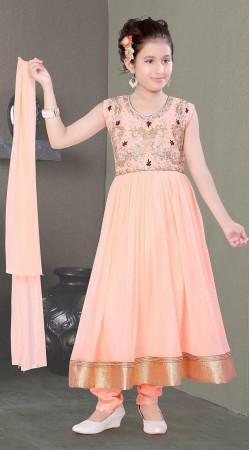 Aesthetic Light Peach Kids Girl Long Anarkali Suit With Golden Border DT10148