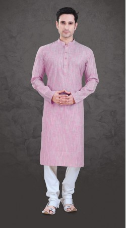 Aesthetic Light Pink Cotton Mens Plain Kurta Payjama SI0243