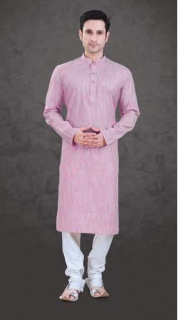 Aesthetic Light Pink Cotton Mens Plain Kurta Payjama SI0243