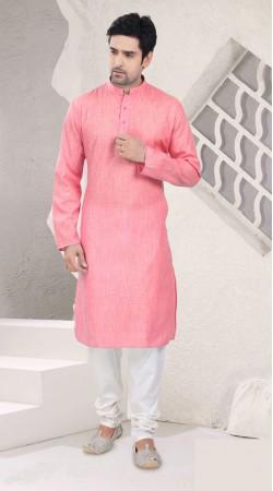 Aesthetic Pink Cotton Mens Full Sleeves Kurta Pajama SI1642