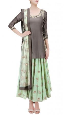 Aesthetic Sea Green Silk Designer Floral Work Skirt With Grey Long Top SUUDL23819
