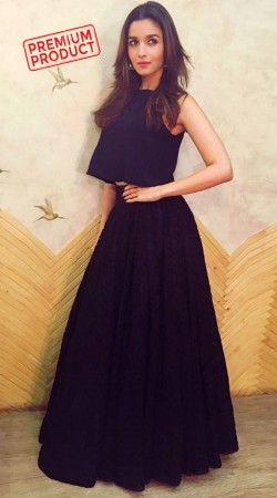 Alia Bhatt Black Raschel Lace Skirt With Top BP0436