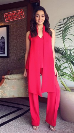 Alia Bhatt Red Short Kameez Parallel Pant And Stole BP0336