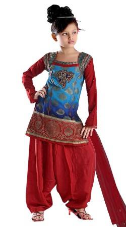 Amazing Bolero Style Blue Kids Girl Short Kameez With Red Patiala TL602428