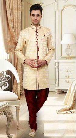 Amazing Cream Resham Brocade Indowestern Sherwani DTINDO15350