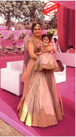Amazing Dusty Cream Lehenga Choli For Pretty Mother And Little Daughter BP3516