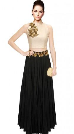 Amazing Floral Work Black Silk Crop Top Lehenga SUUDL10215