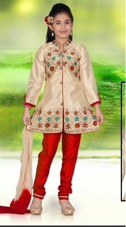 Amazing Floral Work Cream Premium Fabric Kids Girl Salwar Kameez DTK452