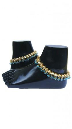 Amazing Gold Plated Zircon Base Blue Moti Designer Anklet N71898