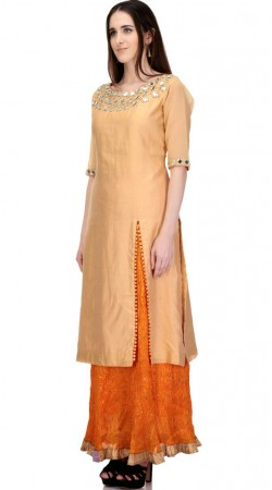 Amazing Golden Mirror Work Long Kameez With Orange Skirt SMB2002