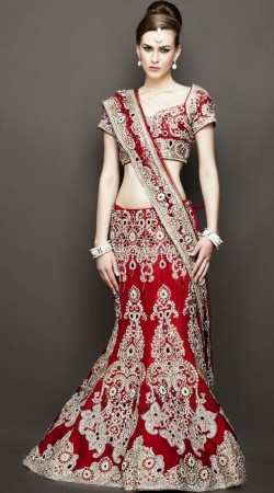 Amazing Heavy Work Red Wedding Fish Cut Bridal Lehenga