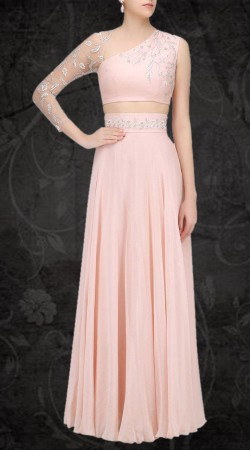 Amazing Light Pink Georgette Designer Crop Top Lehenga SUUDL20719