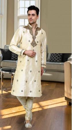 Amazing Neck Embroidered Cream Art Dupian Machine Kurta Pajama DTEKP250