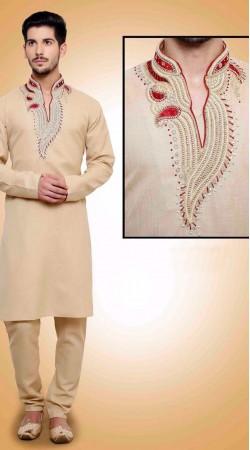 Amazing Neck Embroidered Cream Cotton Kurta Payjama DTKP651