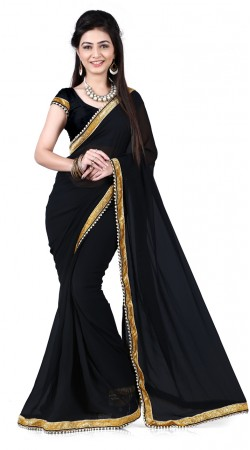 Amazing Pearl Moti Border Black Georgette Bridesmaid Saree RJ39110