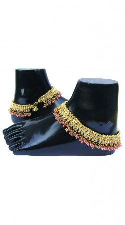 Amazing Pink Moti And Gold Zircon Plated Hand Crafted Designer Anklet N72798