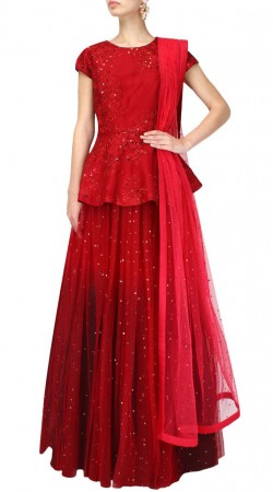 Amazing Red Net Designer Lehenga With Peplum Top Choli SUUDL17518