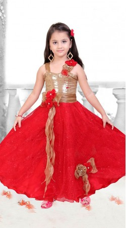 Amazing Red Net Kids Girl Designer Gown With Floral Work DTK2952