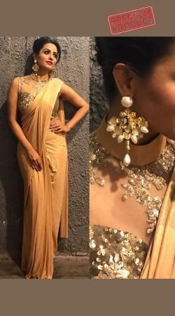 Anita Hassanandani Golden Saree Gown BP0242