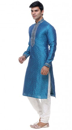 Appealing Blue Brocade Neck Embroidered Kurta Pajama GR139201