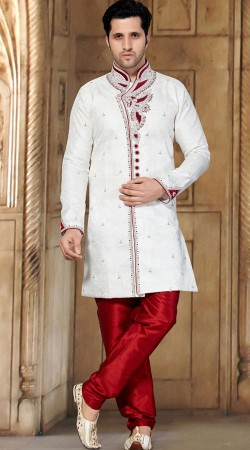 Appealing Red Art Dupion Bottom White Brocade Sherwani RL1151401