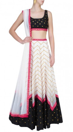 Appearance White And Black Silk Crop Top Lehenga With Zig Zag Work SUUDL16818