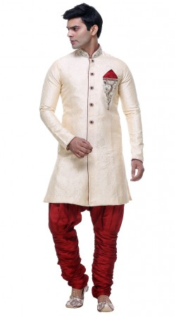 Appearance White Brocade Hand Work Mens Jodhpuri Pant Sherwani GR131904