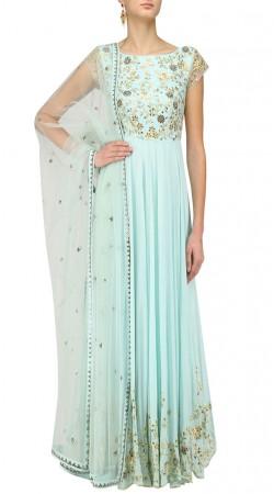 Aqua Anarkali Salwar Kameez With Embroidery Work SUMS36224