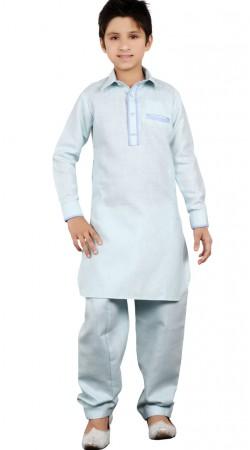 Aqua Linen Cotton Pathani Kurta Pajama For Kid Boy GR23413