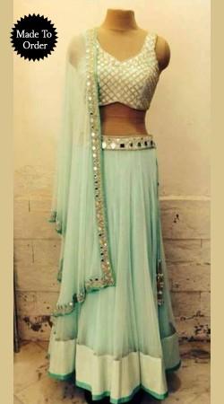 Aqua Net Mirror Work Replica Wedding Lehenga Choli With Dupatta SMDS00E