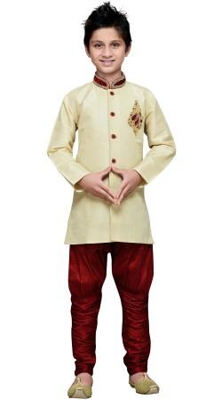 Art Silk Cream Wedding Sherwani For Kid Boy GR16412
