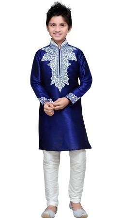 Art Silk Embroidery Work Royal Blue Boy Kurta Pajama GR16012