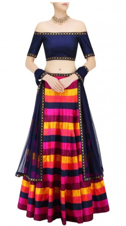 Art Silk Multi Striped Designer Lehenga With Crop Top THS104011