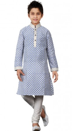 Art Silk Off White Kurta Pajama For Kid Boy GR23213