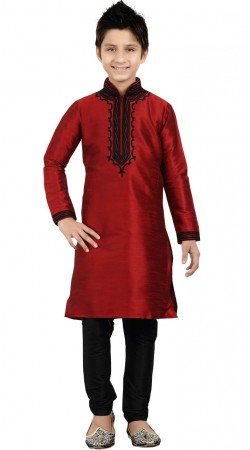 Art Silk Red Kid Boy Kurta Pajama GR22012