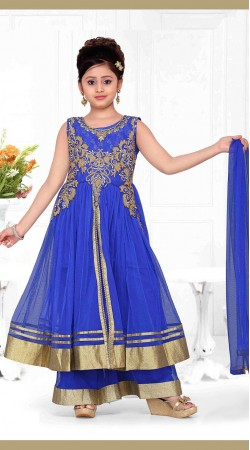 Astonishing Blue Net Kids Girl Palazzo Pant Suit With Dupatta DT53844