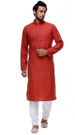 Astonishing Cotton Thread Work Red Festival Mens Kurta Pajama GR142906