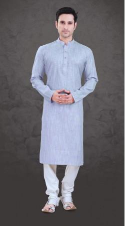 Astonishing Light Blue Cotton Mens Plain Kurta Payjama SI1043