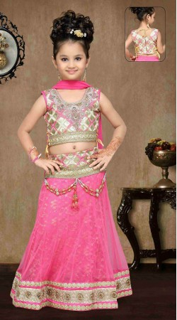 Astonishing Pink Net Kids Girl Designer Lehenga Choli DTK1652