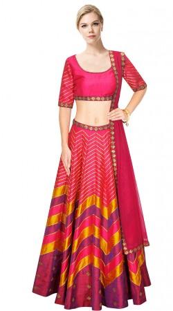 Astonishing Pink Silk Stripe Work Crop Top Lehenga SUUDL9715
