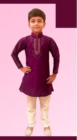 Astonishing Purple Dupion Silk Boy Kid Kurta Pajama DT11957
