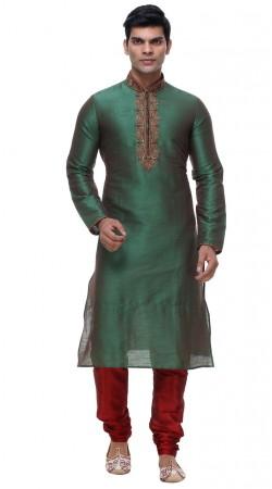 Astonishing Rama Green Silk Neck Embroidered Kurta Pajama GR138201
