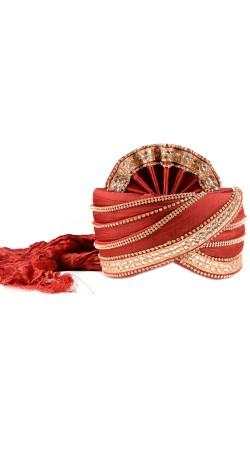 Astonishing Red Silk Designer Groom Wedding Pagri ZP1010