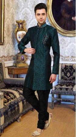 Astonishing Teal Banarsi Brocade Indowestern Sherwani DTINDO15650
